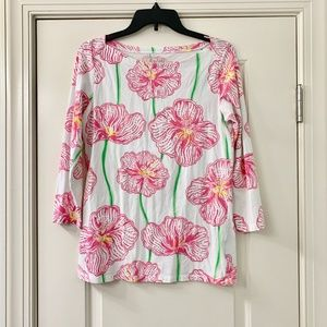 Lilly Pulitzer Pink Floral Cotton Boat Neck Top M